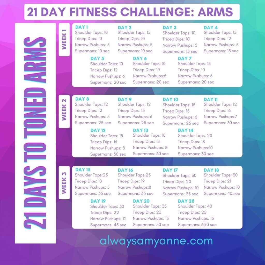 21 Day Fitness Challenge Arms