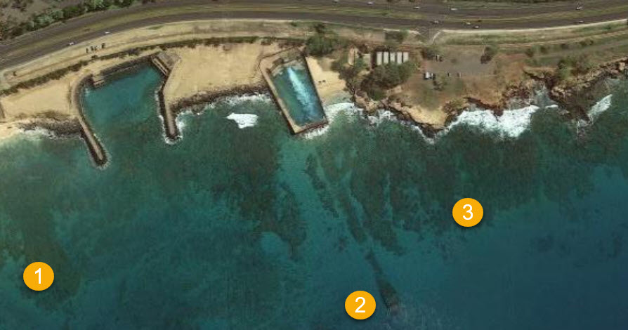 Aerial view of best snorkeling spots at Electric Beach